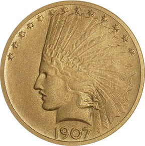 1907 INDIAN $10 PF obverse