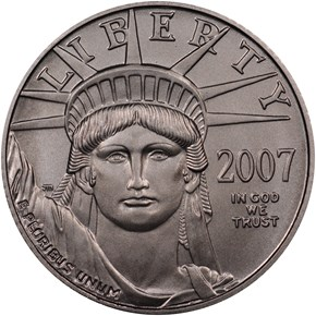 2007 W EAGLE BURNISHED PLATINUM EAGLE P$10 MS obverse