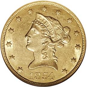1854 O $10 MS obverse