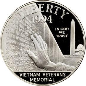 1994 P VIETNAM VETERANS MEMORIAL S$1 PF obverse