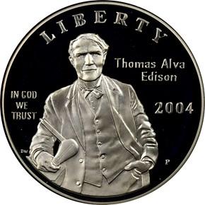 2004 P THOMAS ALVA EDISON S$1 PF obverse