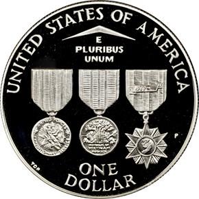 1994 P VIETNAM VETERANS MEMORIAL S$1 PF reverse
