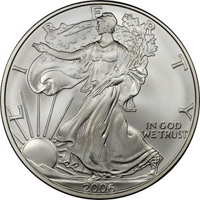 2006 W EAGLE BURNISHED SILVER EAGLE S$1 MS obverse