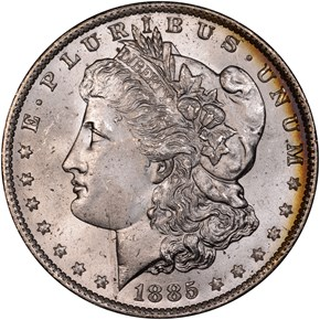 1885 O S$1 MS obverse
