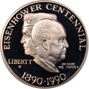 1990 P EISENHOWER CENTENNIAL S$1 PF obverse