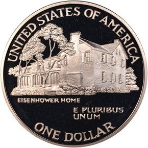 1990 P EISENHOWER CENTENNIAL S$1 PF reverse