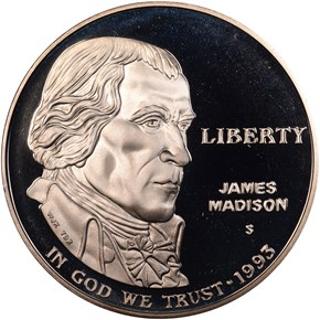 1993 S JAMES MADISON S$1 PF obverse