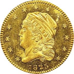 1825 $2.5 MS obverse