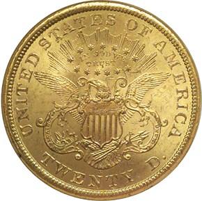 1866 S MOTTO $20 MS reverse