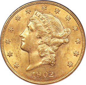 1902 $20 MS obverse