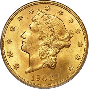1906 D $20 MS obverse