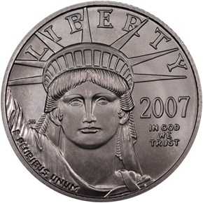 2007 W EAGLE BURNISHED PLATINUM EAGLE P$25 MS obverse