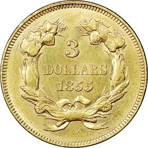 1855 $3 MS reverse