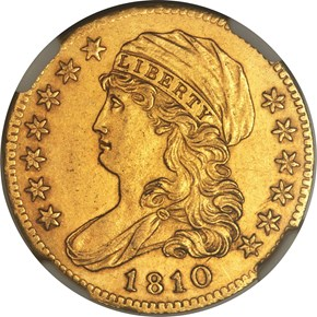 1810 SM DATE TALL 5 BD-1 $5 MS obverse
