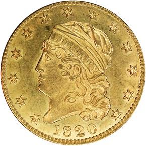 1820 CURL 2 SM LETTERS $5 MS obverse