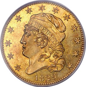 1829 LARGE DATE BD-1 $5 MS obverse