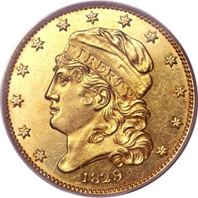 1829 SMALL DATE BD-2 $5 MS obverse