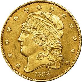 1833 SM DATE SCRIPT 8 $5 MS obverse