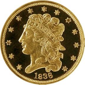 1836 $5 PF obverse
