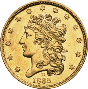 1838 D $5 MS obverse