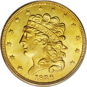 1838 $5 MS obverse