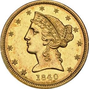 1840 D $5 MS obverse