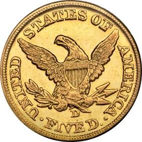 1861 D $5 MS reverse