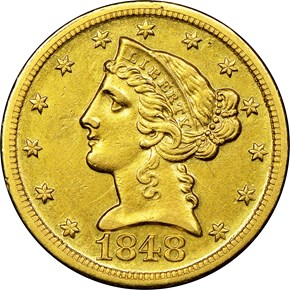 1848 D $5 MS obverse