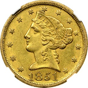 1851 D WEAK D $5 MS obverse