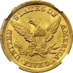 1851 D WEAK D $5 MS reverse
