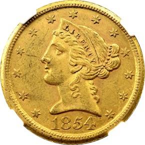 1854 D WEAK D $5 MS obverse