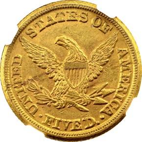 1854 D WEAK D $5 MS reverse