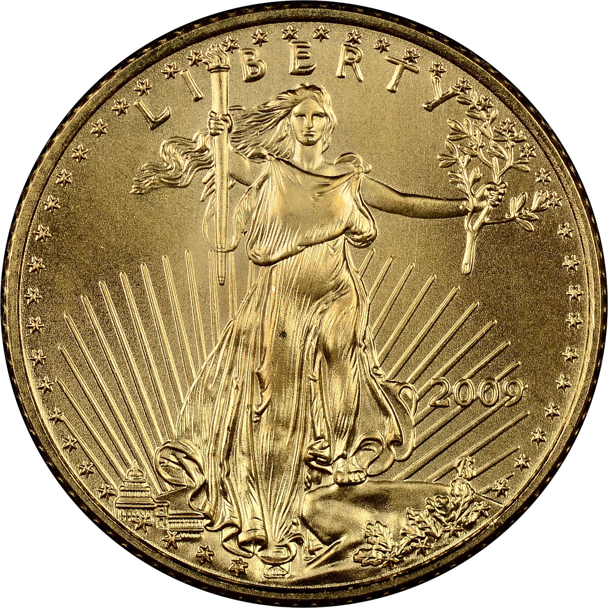 USA GOLD COIN .1//10 oz Gold American Eagle $5 BU 2009