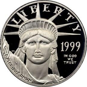 1999 W EAGLE P$50 PF obverse