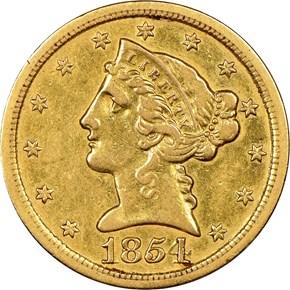 1854 S $5 MS obverse