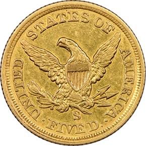 1854 S $5 MS reverse