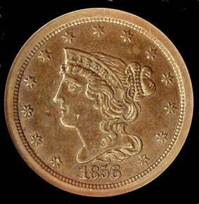 1856 1/2C PF obverse