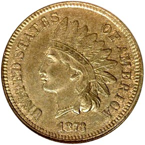 1873 CLOSED 3 1C MS obverse