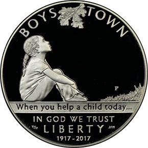2017 P BOYS TOWN CENTENNIAL S$1 PF obverse
