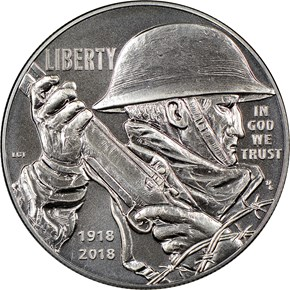 2018 P World War I Centennial S$1 MS obverse