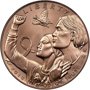 2018 W Breast Cancer Awareness $5 MS obverse