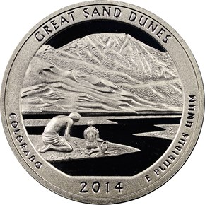 2014 S SILVER GREAT SAND DUNES 25C PF obverse