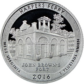 2016 S SILVER HARPERS FERRY 25C PF obverse