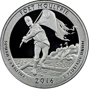 2016 S SILVER FORT MOULTRIE 25C PF obverse