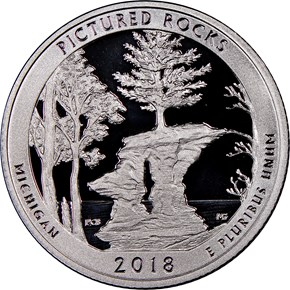 2018 S Clad Pictured Rocks 25C PF obverse