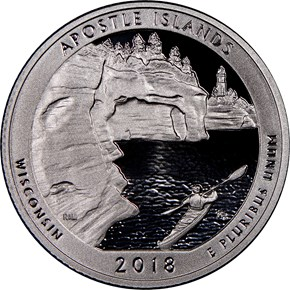 2018 S Clad Apostle Islands 25C PF obverse