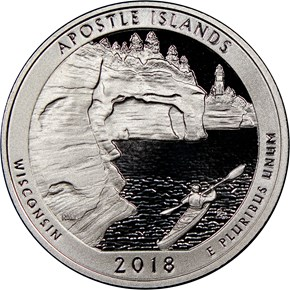 2018 S Silver Apostle Islands 25C PF obverse
