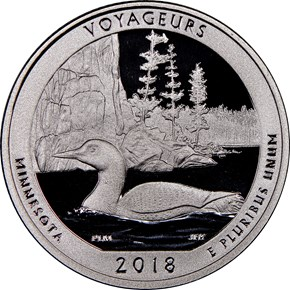 2018 S Clad Voyageurs 25C PF obverse
