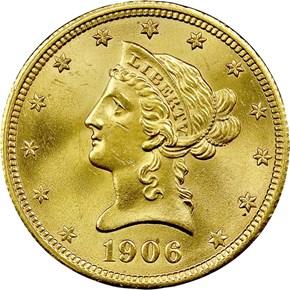 1906 D $10 MS obverse