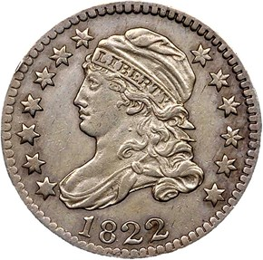 1822 JR-1 10C MS obverse